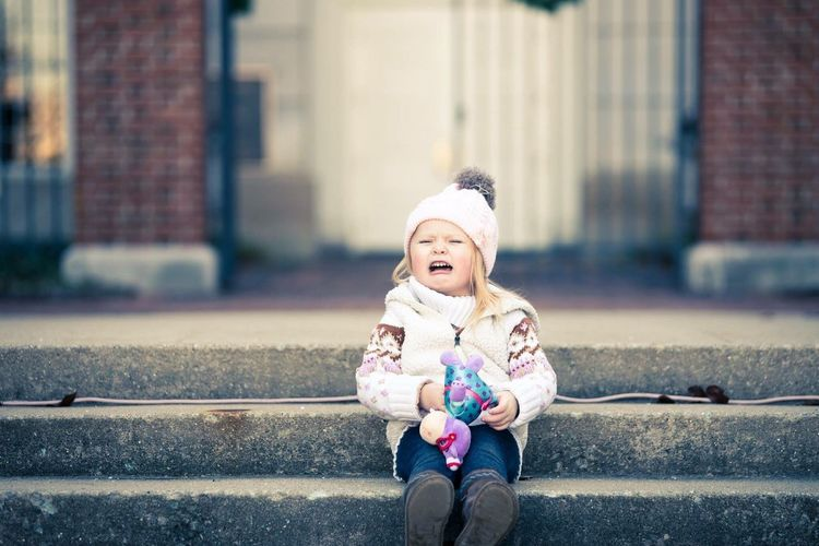 Toddler Girl Crying Outdoors