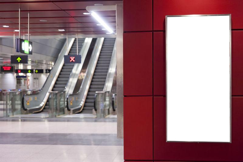 Close-up of blank billboard at subway station