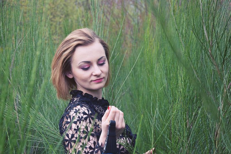 Girl Green Nature Beautiful Woman Young Women Nature Eyes Closed  One Person Beauty Real People Shorthair Red Lips BlackDress
