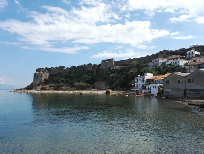 Sea Koroni Castle Koroni Greece Messinias (greece ) Castle Koroni Village Sea And Sky Kalamata,Greece Septemberphotoaday September 2016 Still Summer Walking Around Taking Pictures Cloud - Sky Nature Tranquility