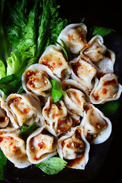 Homemade pork wontons with sweet chilli sauce Food Food And Drink Freshness Healthy Eating Serving Size Plate No People Seafood Ready-to-eat High Angle View Indoors  Gourmet Basil Close-up Day Wontons Dumplings Mandu Gyoza