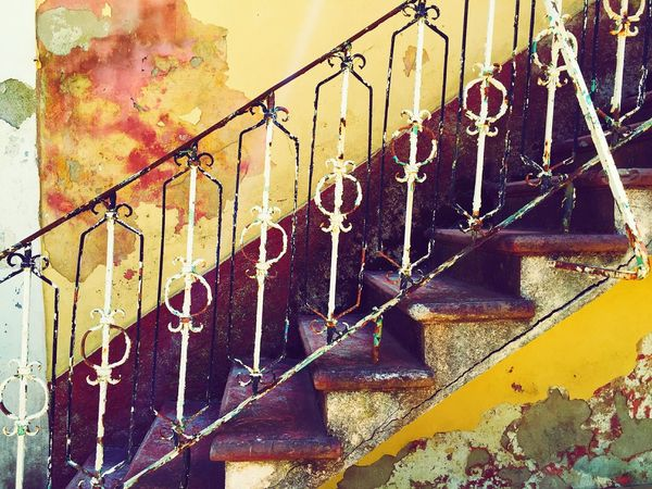 Old Stairs Old Building  Damaged Stairs Damaged Building Ruined Building Symmetry Symmetrical Geometry Yellow Red Grece