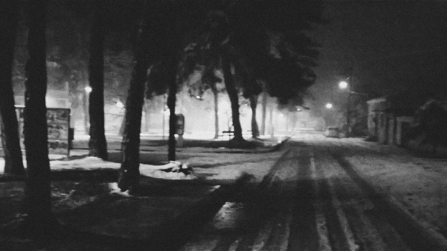 Blackandwhite Night Street Light Dead Of Winter Midnight Snow