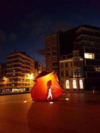 Night Illuminated Red Sculpture Belgium Flanders Ostend Ostende