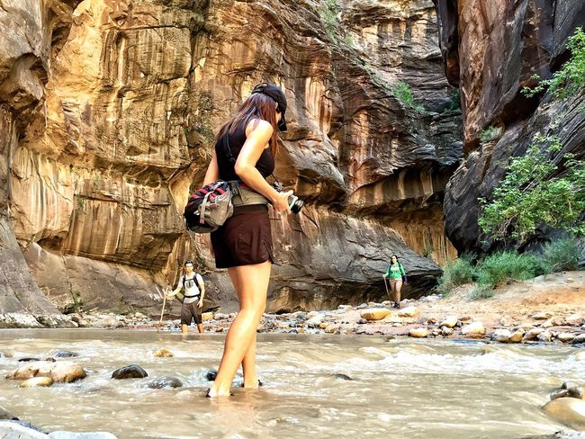 Finding New Frontiers Rock - Object Full Length Vacations Canyon Adventure Travel Standing Rock Climbing Climbing Eco Tourism One Woman Only Nature Tourism Trekking Hike TrekkingDay Trek Zion National Park The Narrows EyeEmNewHere Lost In The Landscape The Traveler - 2018 EyeEm Awards
