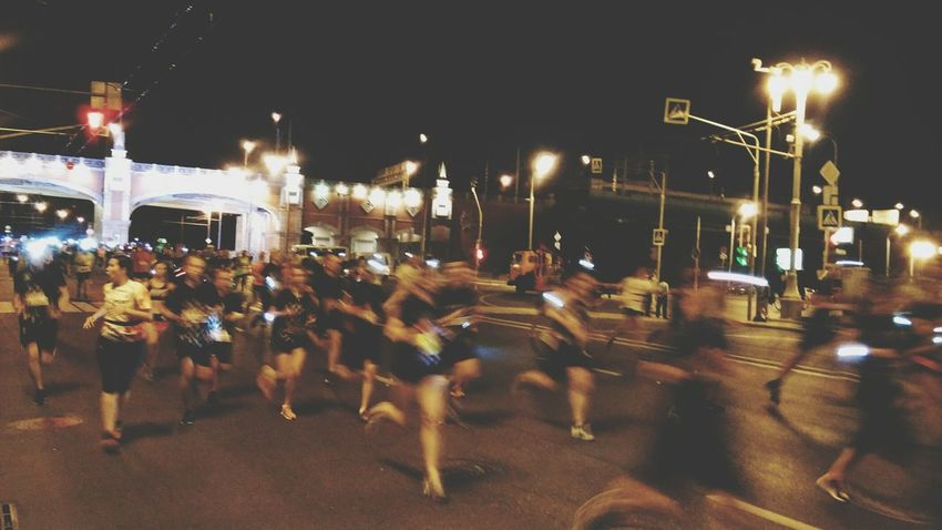 Night Run Running Moscow Marathon Night Sport Motion