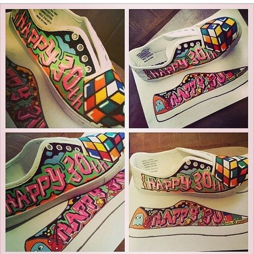 Can't wait to get these for my 80s theme bday! Birthday Eighties Theme Rubixcube graffiti pacman shoes @lozzzdoggg