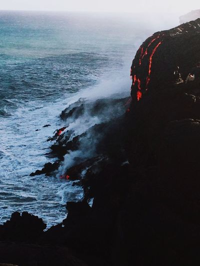 Kilauea Volcano spilling lava out into the ocean Kilauea Volcano Kilauea Volcano Lava Photography Soaking Up The Sun Walking Around Hawaii