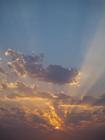Beauty In Nature Cloud - Sky Day Nature No People Outdoors Sky Sun Beam From Cloud Sun Beams Sunset