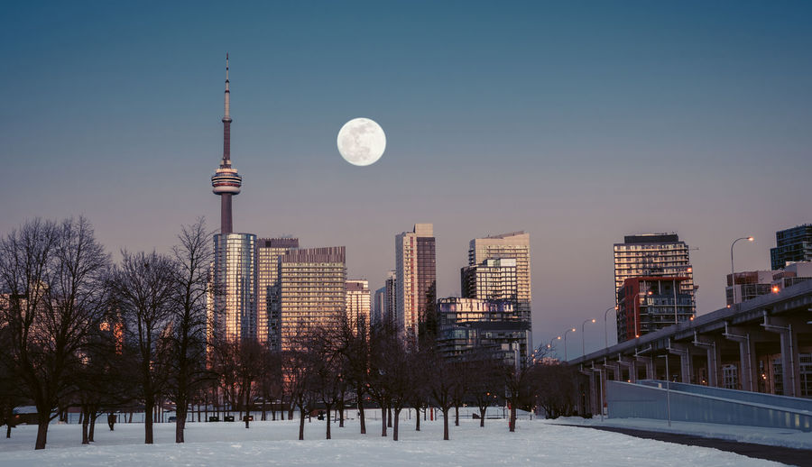 Together Alone Building Exterior Architecture Built Structure Sky Moon City Building Nature Winter Tall - High Cold Temperature Snow Tree Dusk Tower Office Building Exterior Street Light No People Street Clear Sky Skyscraper Outdoors Architecture Skyline Toronto Canada Ontario Nikon D7500 Blue Hour Golden Hour Sunset EyeEm Best Shots EyeEmNewHere EyeEm Selects