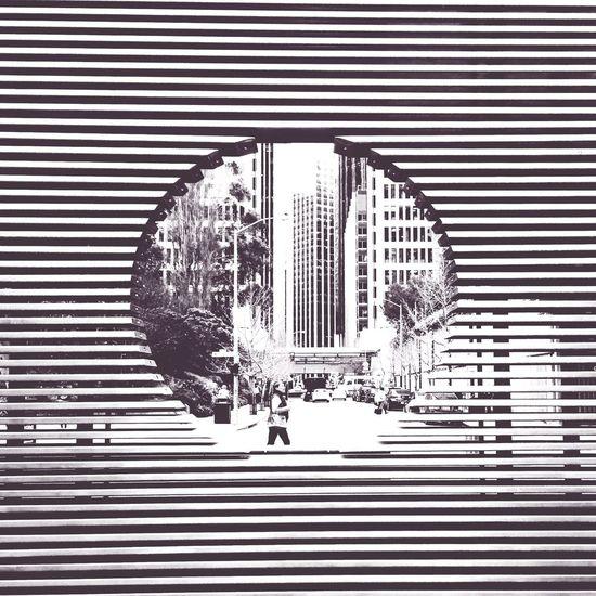 Circle Hole Stripes Peek San Francisco View Frame Slats Tourism Daily Life