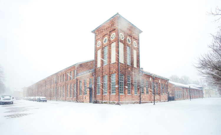 Old brick building in snow storm Architecture Blizzard Brick Building Finland Nordic Snow Snow Storm Storm Street Corner White The Architect - 2017 EyeEm Awards