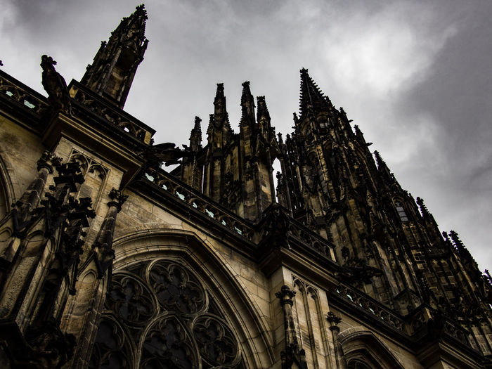 Prague Czech Republic Trip Journey Travel Architecture Low Angle View Building Exterior Sky Built Structure Religion Place Of Worship Spirituality Belief Building Cloud - Sky The Past Nature History No People Day Outdoors Gothic Style Spire  Ornate 17.62°