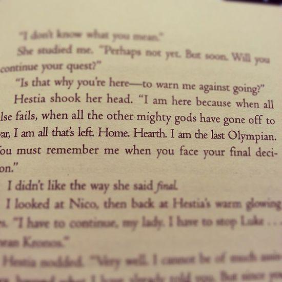 """""""I am the last Olympian"""" -Hestia Percyjackson Thelastolympian Rickriordan Novel goodreads bookworm"""
