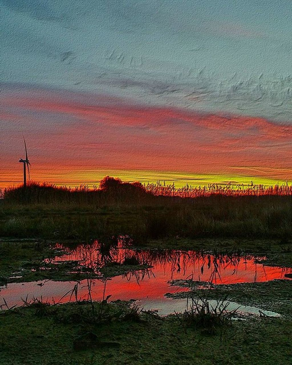 reflection, sunset, nature, beauty in nature, scenics, orange color, lake, landscape, outdoors, environment, no people, tranquility, red, water, multi colored, rural scene, sky, tree, day