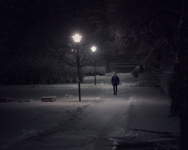 Snow nights in Stockholm. Winter Lonely Moody Cold Temperature Snow Winter Night One Person Street City Street Light Illuminated Walking Unrecognizable Person Snowing Lifestyles Outdoors