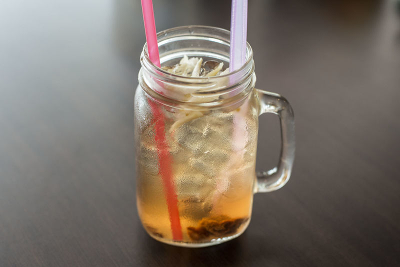 Close-up Drink Drinking Glass Food Food And Drink Freshness Indoors  Jar No People Nutmeg Penang Food Refreshment Spoon Strawberry Table