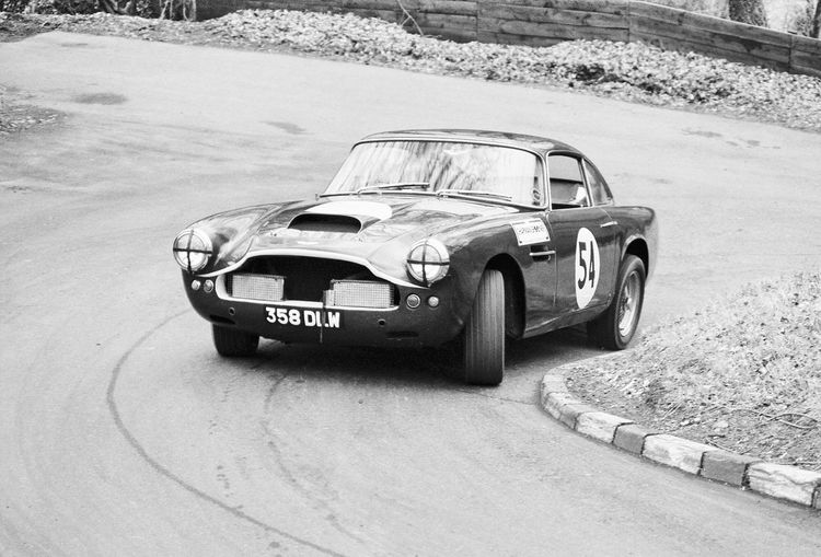 Aston Martin DB4 GT at Wiscombe hill climb 1986 Aston Martin DB4 GT Real Film Real Photography Classic Car Car Black And White Black & White Motor Sport Motoring