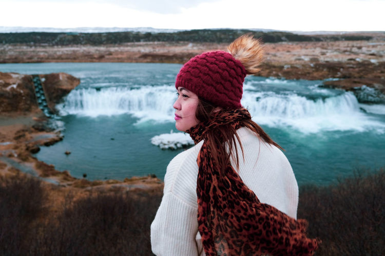 Memories Iceland Waterfalls Iceland Memories Icelandtrip Nature Water Falls Warm Clothing Young Women Portrait Women Water Winter Standing Red Beautiful Woman Wool Scarf First Eyeem Photo EyeEmNewHere