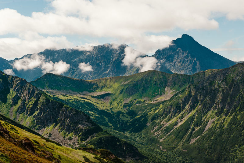 Scenic view of mountains against sky at tatra national park