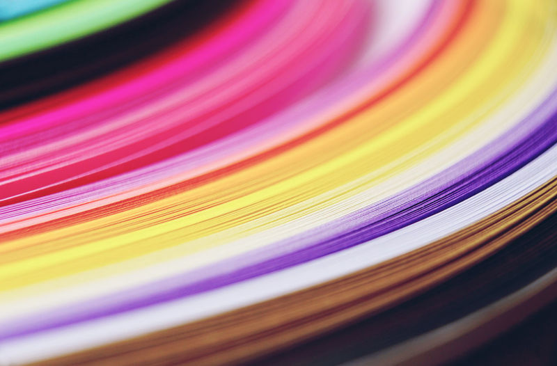 Close-up of colorful papers