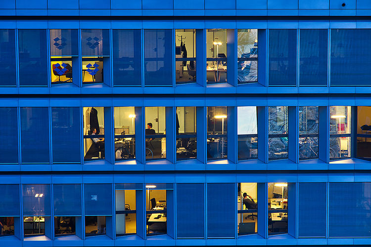 Architecture Blue Building Exterior Built Structure Full Frame Illuminated Window
