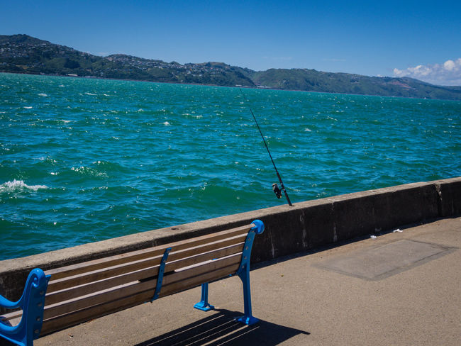 Fishing rod into the harbour Fishing Fishing Rod Harbour Outdoors Sea Seat Water Wellington Harbour