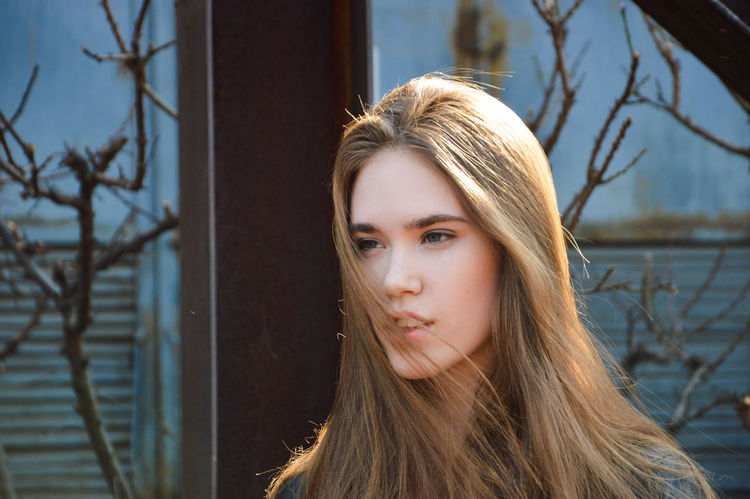 Adult Beautiful Woman Blond Hair Close-up Confidence  Day Focus On Foreground Front View Headshot Leisure Activity Lifestyles Nature One Person Outdoors People Portrait Real People Sky Tree Young Adult Young Women