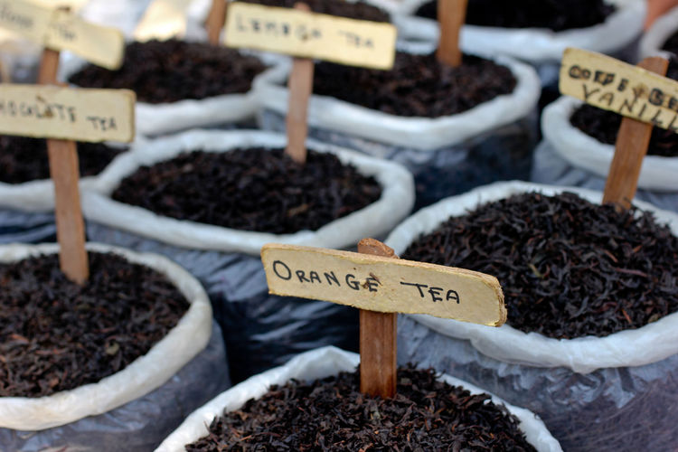 Full Frame Shot Of Tea Variations With Labels At Market Stall