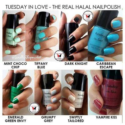 ☆TUESDAY IN LOVE ☆ Nailpolish … Finally, a nail polish for muslim women, Tuesday in Love is a Canadian company specializing in water permeable nail polishes … … KODE: 1 ⇨ MINT CHOCO CHIP 2 ⇨ TIFFANY BLUE 3 ⇨ DARK KNIGHT 4 ⇨ CARRIBEAN ESCAPE 5 ⇨ EMERALD GREEN ENVY 6 ⇨ GRUMPY GREY 7 ⇨ SWIFTLY TAILORED 8 ⇨ VAMPIRE KISS … ⇨HALAL ⇨Bisa dibawa shalat ⇨Aman Dipakai utk Cewek muslim dan Anak2 ⇨Original 100% ⇨Mudah Dibersihkan ⇨Mudah Dikelupas, Bisa tanpa menggunakan Aseton ⇨Air dapat Menyerap ke Kuku ⇨Tidak Merusak Kuku … Minat? ⇨Line: ollabutterfly ⇨BBM: 7d317d9c ⇨Transfer only BCA and MANDIRI ⇨Serious Buyer Only Happy Shopping I`Shop ~ ❤ … Kuteks Nailpolish Inglot Inglotnailpolish kuteksinglot halal kutekshalal halalnailpolish muslim inglotmurah kuteksmurah opi rubi pokari kuteksoriginal originalnailpolish zoya enamel ollamossabil ianollashopmarket goshmurah Palangkaraya banjarmasin pontianak nyx balikpapan etude oriflame hijab tuesdayinlove