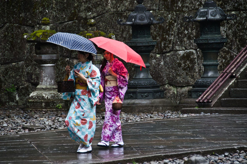 Adult Adults Only Below Day Full Length Kimono Kimonogirl Lifestyles Nature One Person Only Women Outdoors Protection Rain RainDrop Rainy Season Real People Religous Plac Tradition Umbrella Under Water Weather Wet Women
