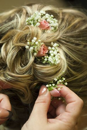 Blond Hair Bride Hairstyle Business Finance And Industry Close-up Fashion Flower Flower Head Freshness Hair Hairdresser Hairstyle Hairstyles High Angle View Holding Human Body Part Human Hand Lifestyles Long Hair Morning One Person Real People Roses Wedding Wedding Detail Wedding Details