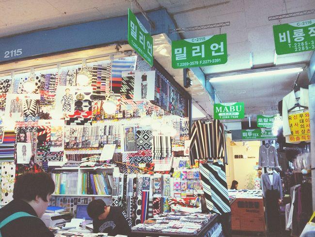 韓国の生地市場。めっっちゃ楽しい。生地いっぱい Soul City Korea Travel Happy :)