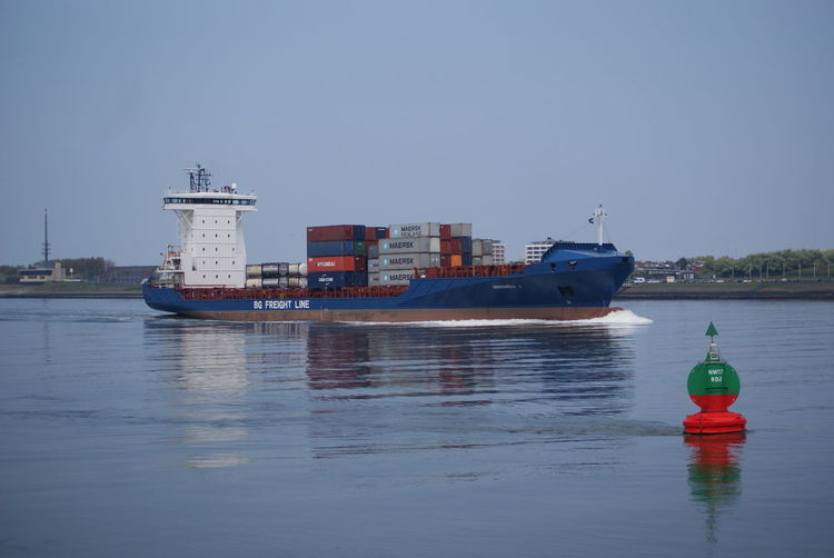 Clear Sky Coastliner Container Ship Day Freight Ship Freight Transportation Mode Of Transport Moored Nature Nautical Vessel No People Outdoors Red Rotterdam Harbor Rotterdam Haven Safety Sea Sky Transportation Water Waterfront
