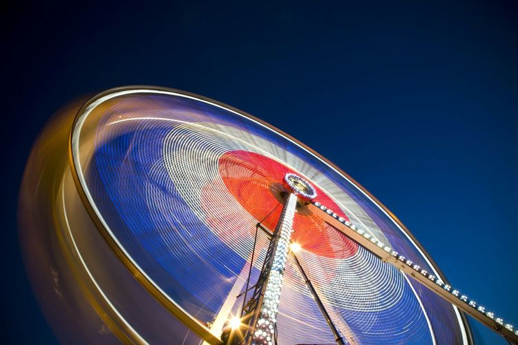 Blurred motion of ferris wheel
