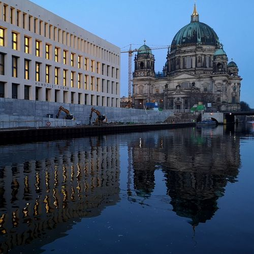 Reflection of buildings in the river spree