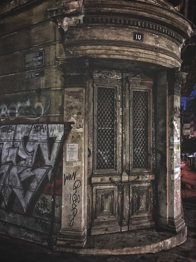 Ghost house Architecture Built_Structure No People Outdoors Building Exterior Night Abandoned Oldhouse Closed Door Closed Locked Door Night Nightshot Creepy Corner Of House Main Door Wall Painting High Contrast Athens, Greece Your Ticket To Europe The Week On EyeEm Ancient Rusted