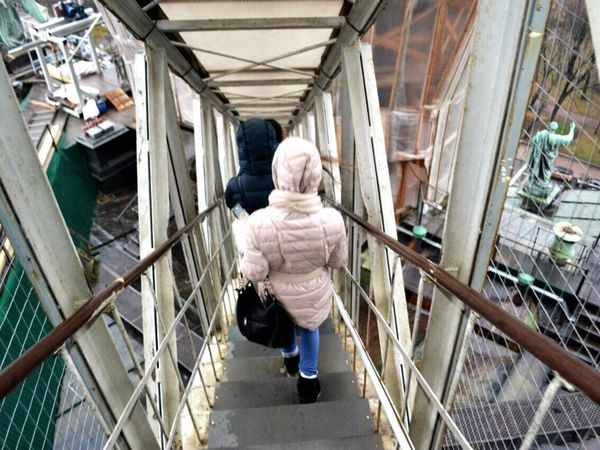 Не беги от себя. Senior Adult Railing Senior Men Walking Steps One Person Real People Lifestyles Full Length Architecture Day Indoors  Adult People Adults Only Let's Go. Together. Let's Go. Together.