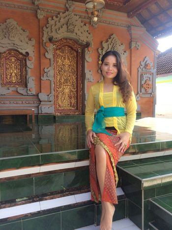Bali Architecture Young Adult Looking At Camera One Person Beautiful Woman Portrait Smiling Front View Standing Architectural Column Only Women Happiness One Woman Only Tabanan, Bali, Indonesia Kebaya