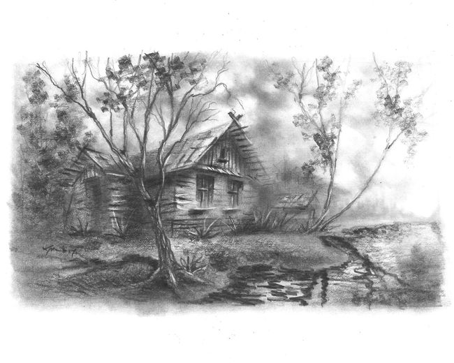 House By The Water Morning Light Drawing Forest Nature River Drop Abstract Close-up Sky