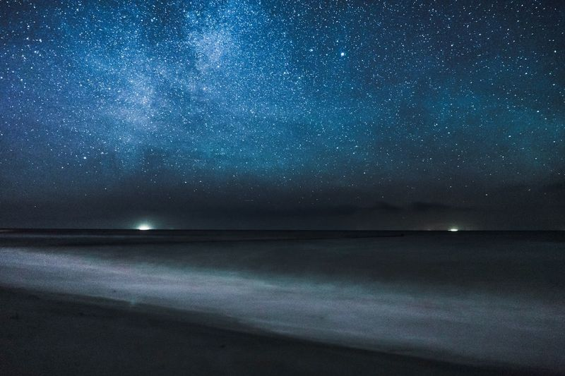 Stars over the sea. Beauty In Nature Outdoors Ostsee Baltic Sea Sea Sea And Sky Water Waves Stars Clear Sky Ships Adventure Nightsky Night Dark Long Exposure Stary Sky Nowhere Lights In The Water EyeEm Ready