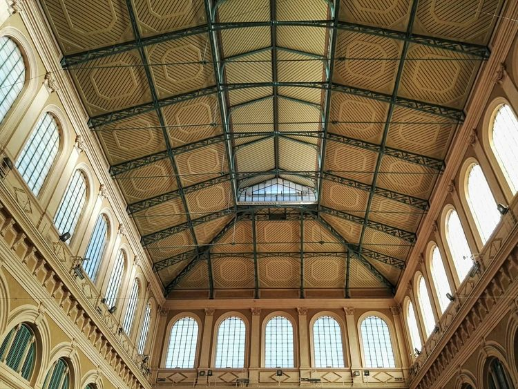 Indoors  Ceiling Architecture Window Built Structure Arch No People Day Low Angle View Livorno Mercato Centrale Interno Struttura Interior Design Soffitto Sculpture Architectural Feature Building Interior Modern Building Struttura Moderna Architettura Architectural Detail Architecture Travi Arc