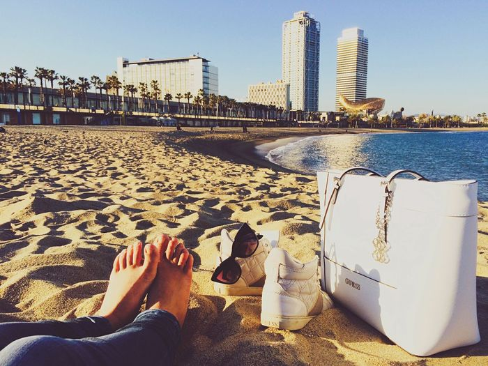 Being A Beach Bum Getting A Tan Relaxing Enjoying The Sun Fresh Air Amazing Wiev Barcelona España