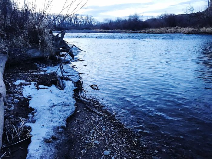 Snow by the Arkansas river. Arkansas River River Nature Tranquility Water Tranquil Scene Beauty In Nature Shades Of Winter No People Outdoors Scenics Winter Cold Temperature Snow
