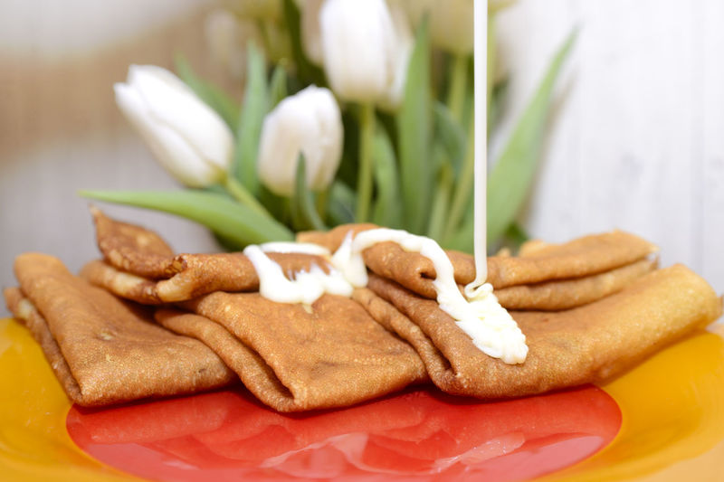 Close-up of cookies in plate