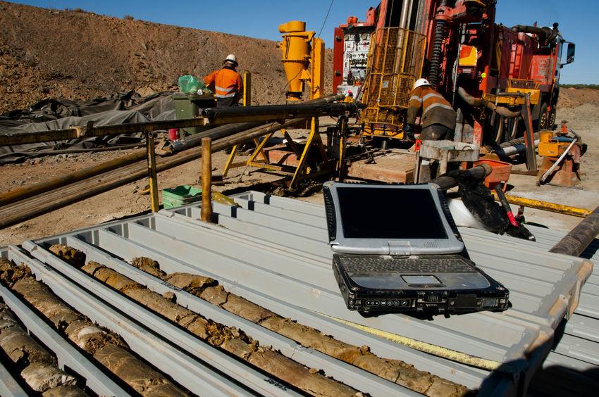 Geology Core Logging on Laptop Australia Logging Core Exploration Laptop Mining