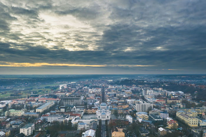 Kaunas city panorama, aerial view, autumn season Autumn Season Drone  Aerial View Aerial Mavic 2 Mavic 2 Pro DJI X Eyeem Drone Shot Europe Cloudy Evening Soboras Cityscape Sky City Cloud - Sky Architecture Building Exterior Built Structure Building Residential District Nature Crowded High Angle View Outdoors Horizon Sunset Water City Life TOWNSCAPE