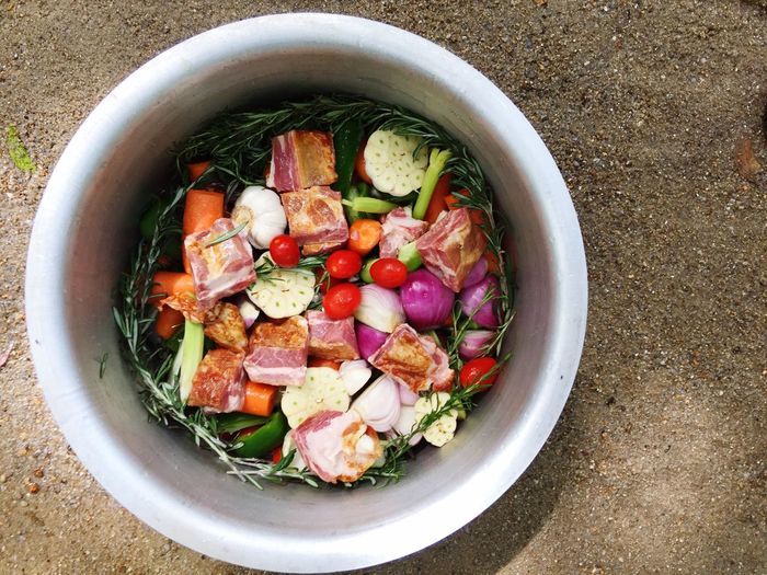 Bacons, mix vegetables, rosemary leave, pot and sand Bacons River Cooking Food And Drink Healthy Eating Food Directly Above Freshness Wellbeing Fruit Bowl Vegetable Still Life No People High Angle View Variation Serving Size Berry Fruit Choice Ready-to-eat