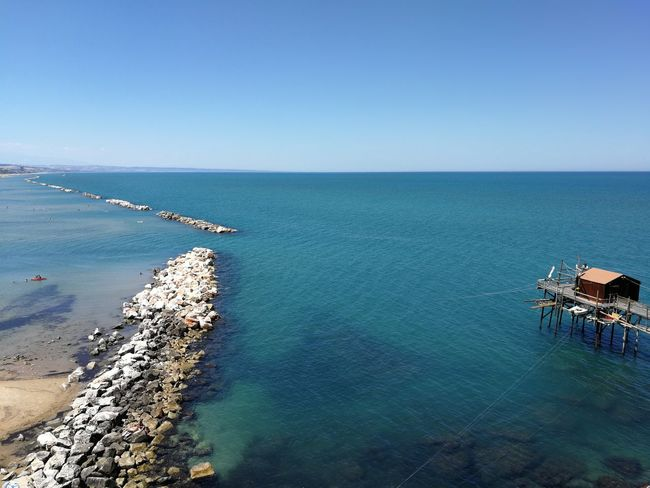 Trabucco di Termoli Beach Beauty In Nature Blue Clear Sky Copy Space Day Horizon Horizon Over Water Idyllic Land Luxury Mar Adriatico Nature No People Outdoors Pontile Scenics - Nature Sea Sky Swimming Pool Trabucco Tranquil Scene Tranquility Turquoise Colored Water