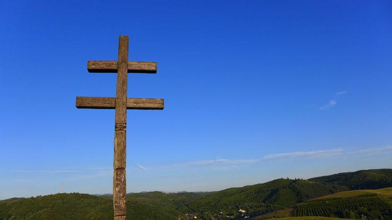 Blue Cross Cross On The Hill Double Cross Hill Iesus Nazarene Rex Iudaeorum INRI Landscape No People Outdoors Religion Sky Wooden Cross
